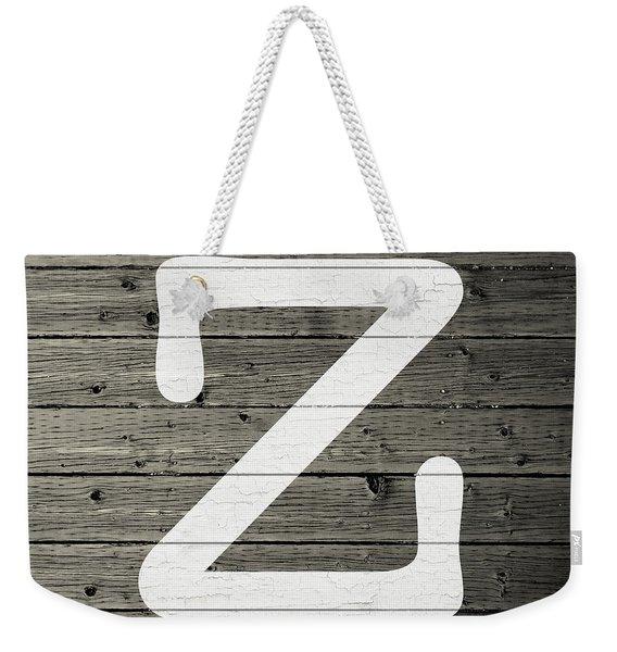 Letter Z White Paint Peeling From Wood Planks Weekender Tote Bag