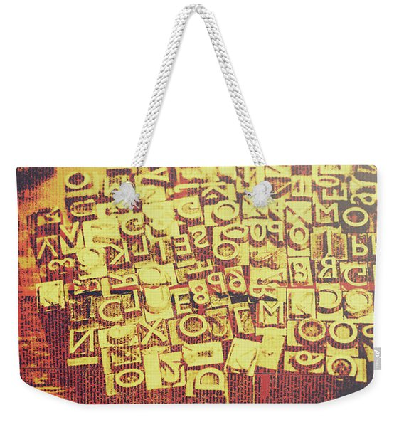 Letterpress Industrial Pop Art Weekender Tote Bag