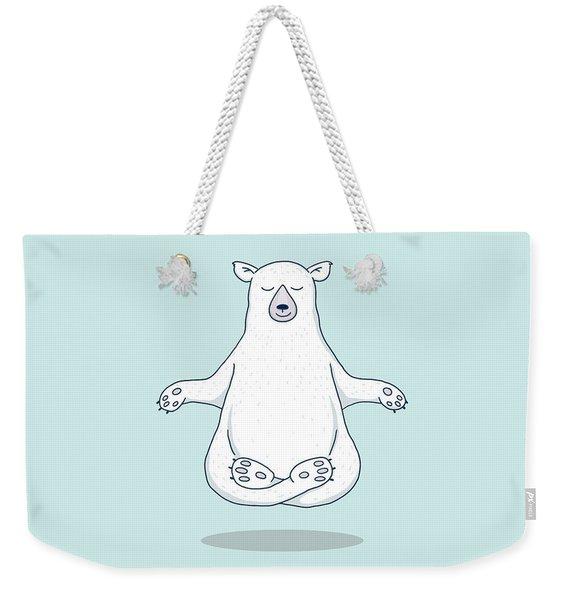 Levitating Meditating Polar Bear Weekender Tote Bag