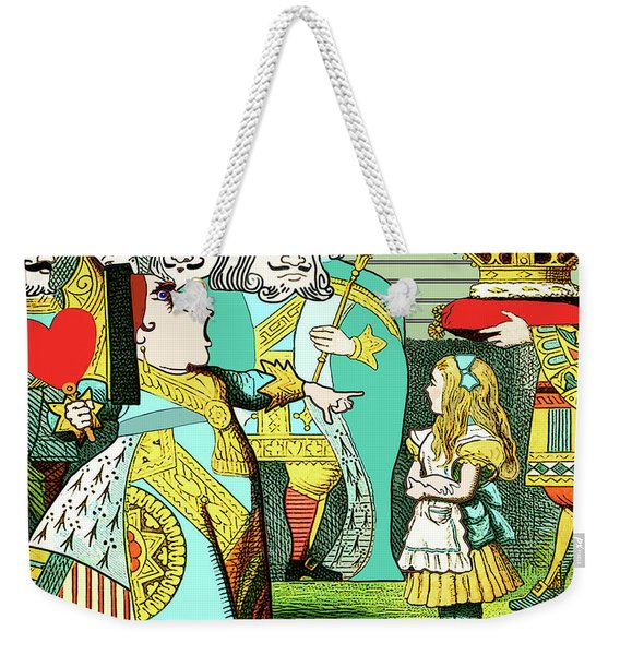 Weekender Tote Bag featuring the painting Lewis Carrolls Alice, Red Queen And Cards by Marian Cates