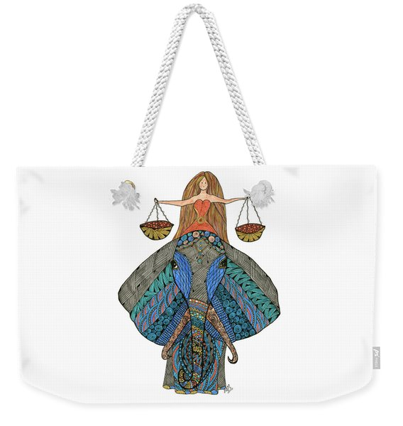 Weekender Tote Bag featuring the drawing Libra by Barbara McConoughey