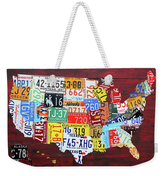 License Plate Map Of The United States Custom Edition 2017 Weekender Tote Bag
