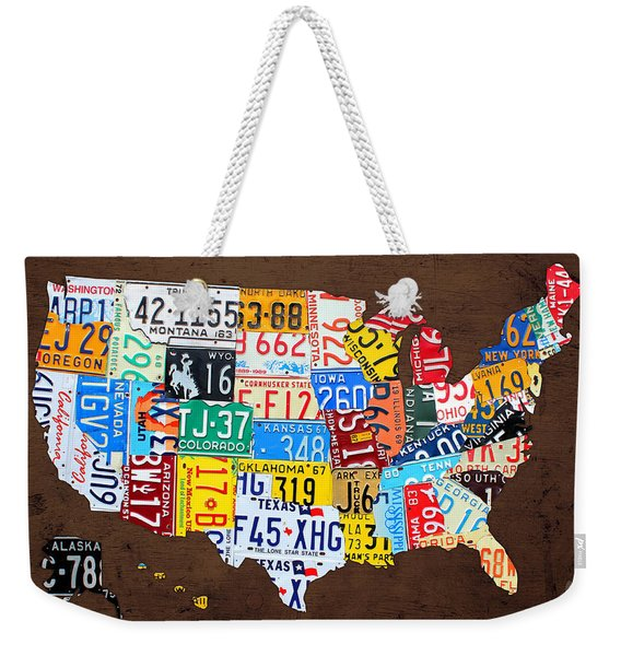 License Plate Map Of The Usa On Brown Wood Weekender Tote Bag
