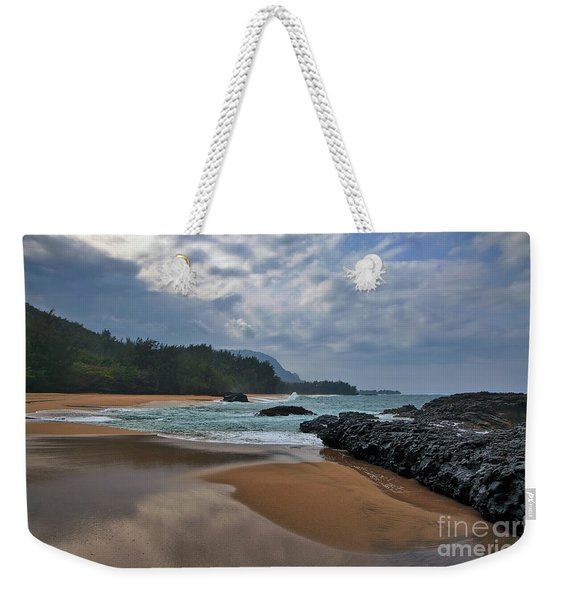 Weekender Tote Bag featuring the photograph Life Is A Beach And Then You Die? Lumahai Beach, Kauai, Hawaii by Sam Antonio Photography