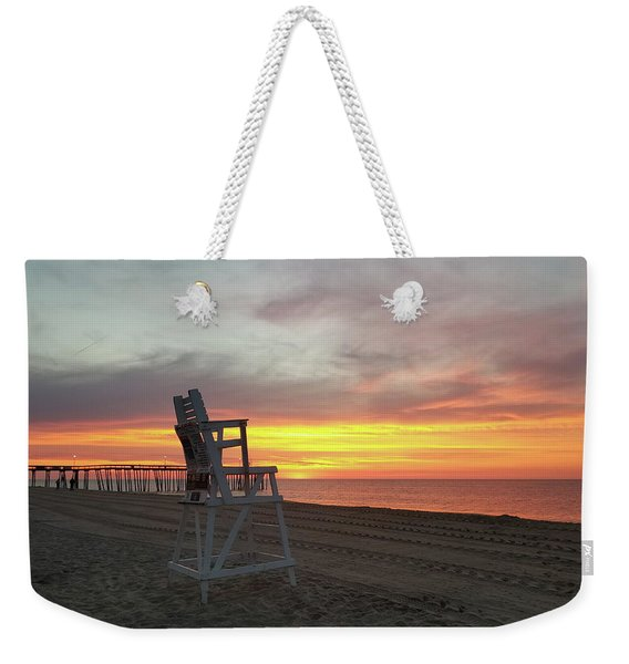 Lifeguard Stand On The Beach At Sunrise Weekender Tote Bag