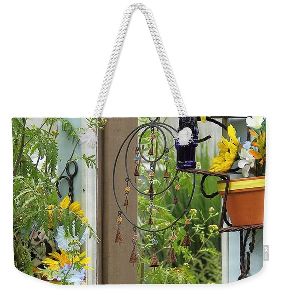 Light Blue Door Planter Weekender Tote Bag