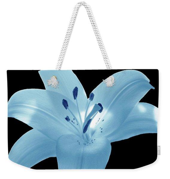 Light Blue Lily Weekender Tote Bag