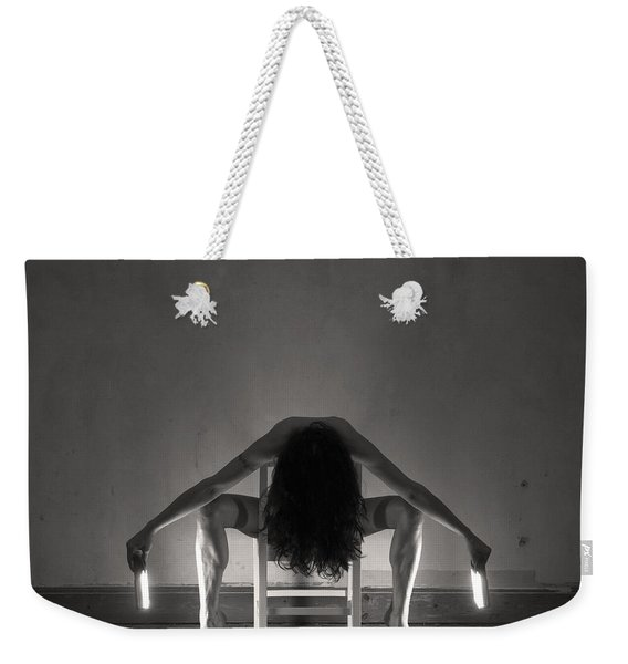 Weekender Tote Bag featuring the photograph Light Study - Chair Symmetry by Clayton Bastiani