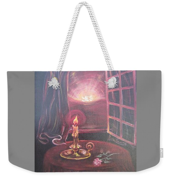 Flying Lamb Productions      Light The Yes Candle Weekender Tote Bag
