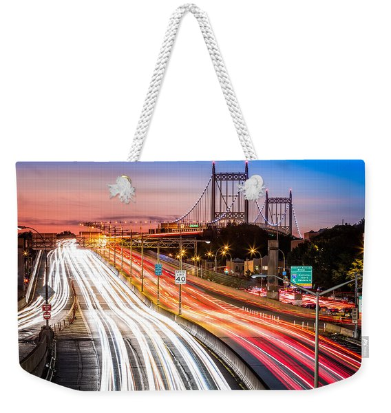 Weekender Tote Bag featuring the photograph Light Trails On I-278 Near Triboro Bridge by Mihai Andritoiu