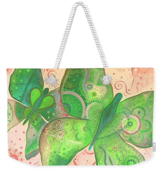 Lighthearted In Green On Red Weekender Tote Bag