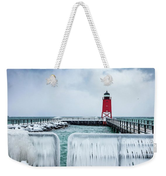 Lighthouse And Ice Weekender Tote Bag