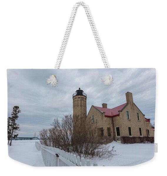 Lighthouse And Mackinac Bridge Winter Weekender Tote Bag