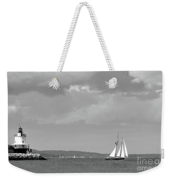 Weekender Tote Bag featuring the photograph Lighthouse And Schooner, Portland, Maine #30096-bw by John Bald