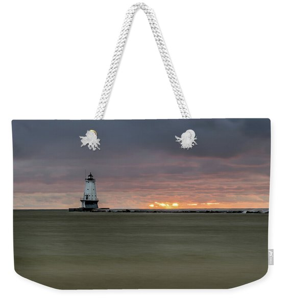 Lighthouse And Sunset Weekender Tote Bag