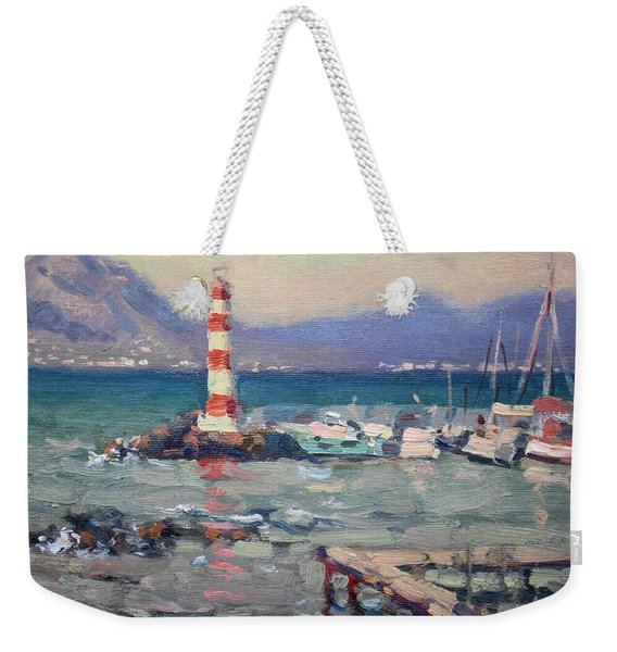 Lighthouse At Dilesi Harbor Greece Weekender Tote Bag