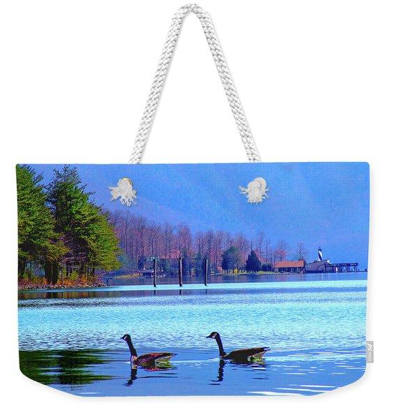 Lighthouse Geese, Smith Mountain Lake Weekender Tote Bag