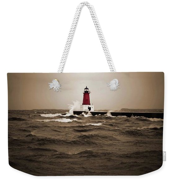 Lighthouse Glow Sepia Spot Color Weekender Tote Bag