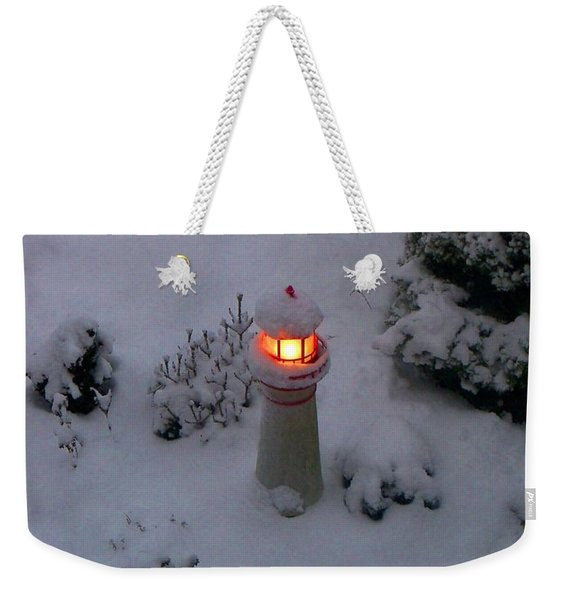 Lighthouse In The Snow Weekender Tote Bag