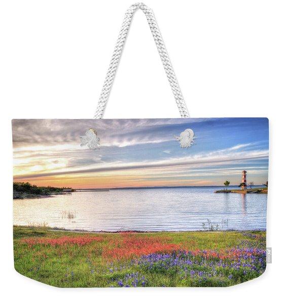 Lighthouse Sunset At Lake Buchanan Weekender Tote Bag