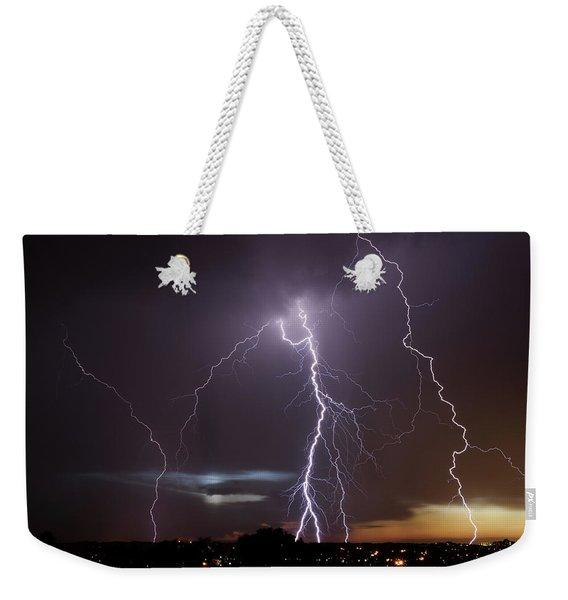 Lightning At Dusk Weekender Tote Bag