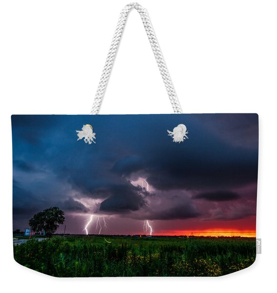 Lightning Bugs - Firefly And Lightning At Sunset In Oklahoma Weekender Tote Bag
