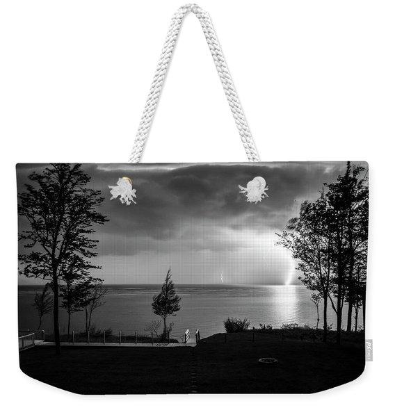 Lightning On Lake Michigan At Night In Bw Weekender Tote Bag