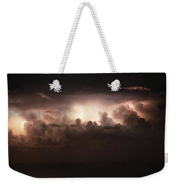 Lightning Over The Straits Of Messina Weekender Tote Bag