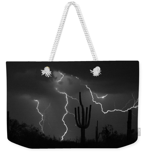 Lightning Storm Saguaro Fine Art Bw Photography Weekender Tote Bag