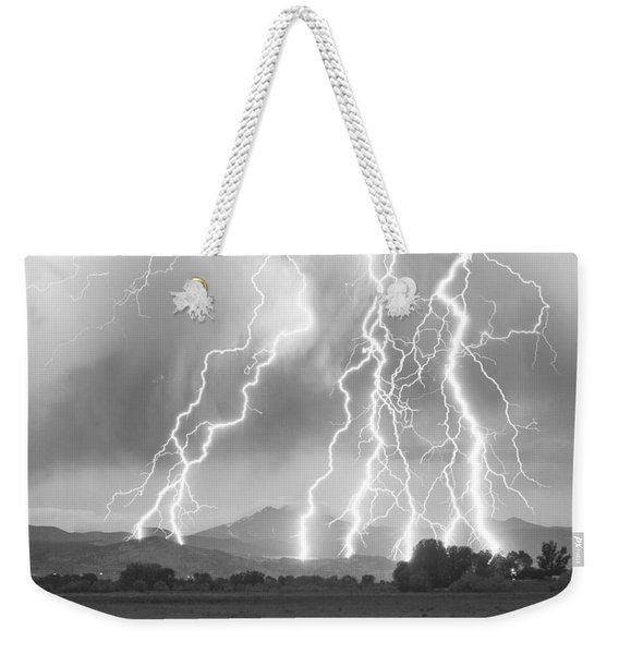 Lightning Striking Longs Peak Foothills 4cbw Weekender Tote Bag