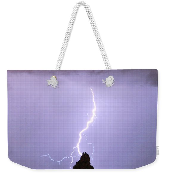 Lightning Striking Pinnacle Peak Scottsdale Az Weekender Tote Bag