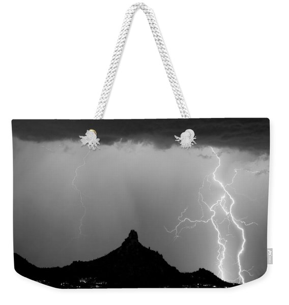 Lightning Thunderstorm At Pinnacle Peak Bw Weekender Tote Bag