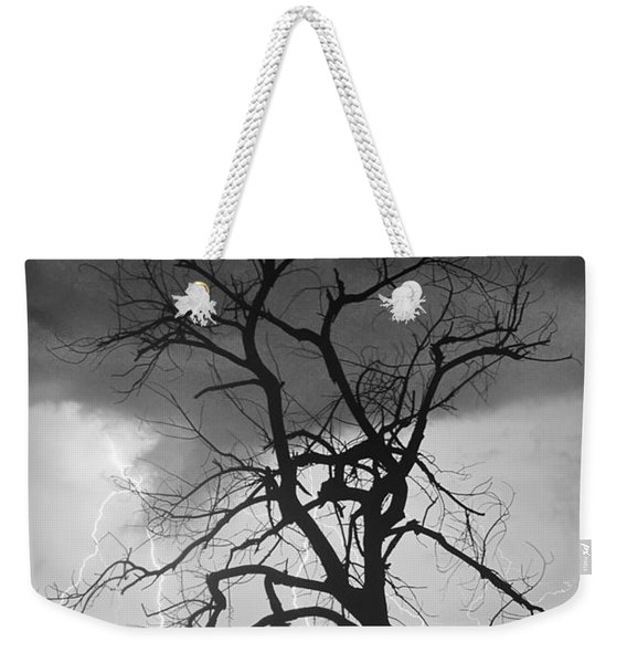 Lightning Tree Silhouette Portrait Bw Weekender Tote Bag