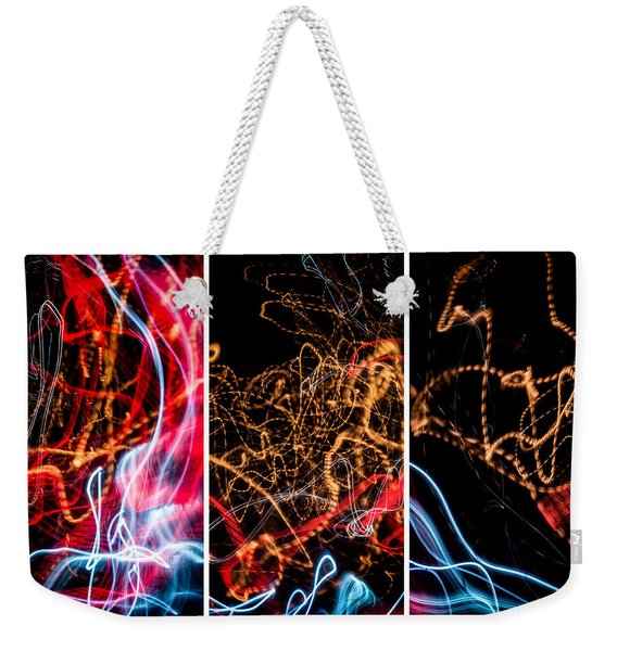 Lightpainting Triptych Wall Art Print Photograph 5 Weekender Tote Bag