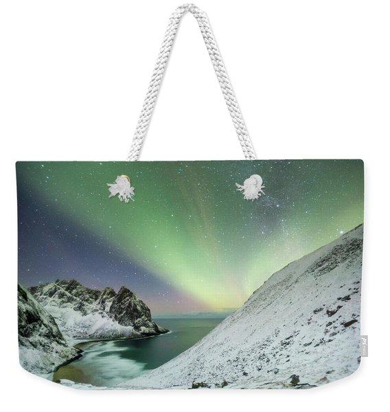 Lights Above Kvalvika Weekender Tote Bag