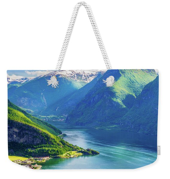 Weekender Tote Bag featuring the photograph Lights And Shadows Of Sognefjord by Dmytro Korol