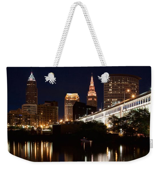 Lights In Cleveland Ohio Weekender Tote Bag