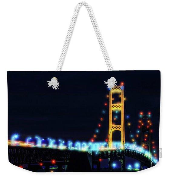 Lights On Mackinac Bridge At Night Weekender Tote Bag