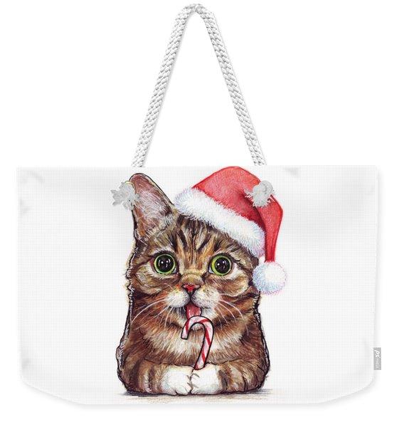 Cat Santa Christmas Animal Weekender Tote Bag