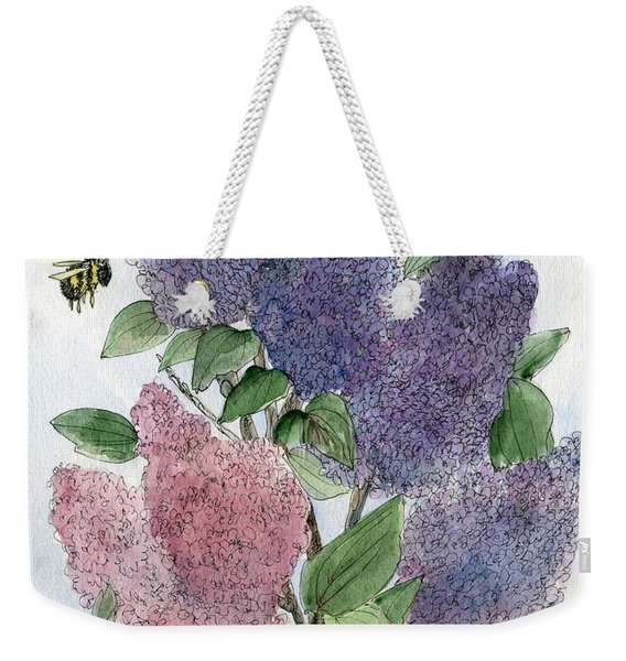 Lilacs And Bees Weekender Tote Bag