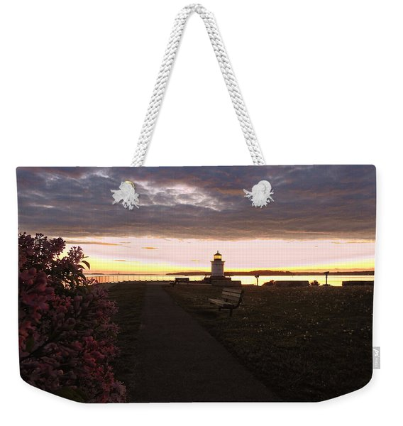 Lilacs At Portland Breakwater Light Weekender Tote Bag