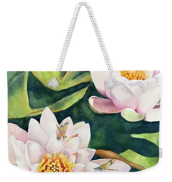 Lilies And Dragonflies Weekender Tote Bag
