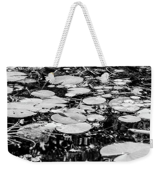 Lily Pads, Black And White Weekender Tote Bag