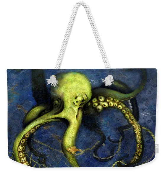Lime Green Octopus With Net Weekender Tote Bag