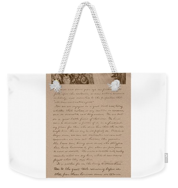 Lincoln And The Gettysburg Address Weekender Tote Bag