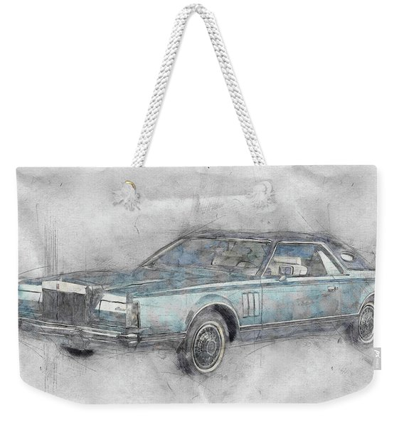 Lincoln Continental Mark V 1 - 1977 - Automotive Art - Car Posters Weekender Tote Bag