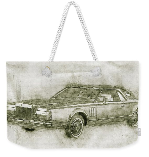 Lincoln Continental Mark V - 1977 - Automotive Art - Car Posters Weekender Tote Bag