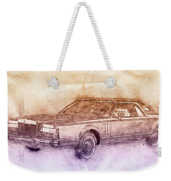 Lincoln Continental Mark V 2- 1977 - Automotive Art - Car Posters Weekender Tote Bag