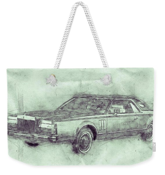 Lincoln Continental Mark V 3 - 1977 - Automotive Art - Car Posters Weekender Tote Bag