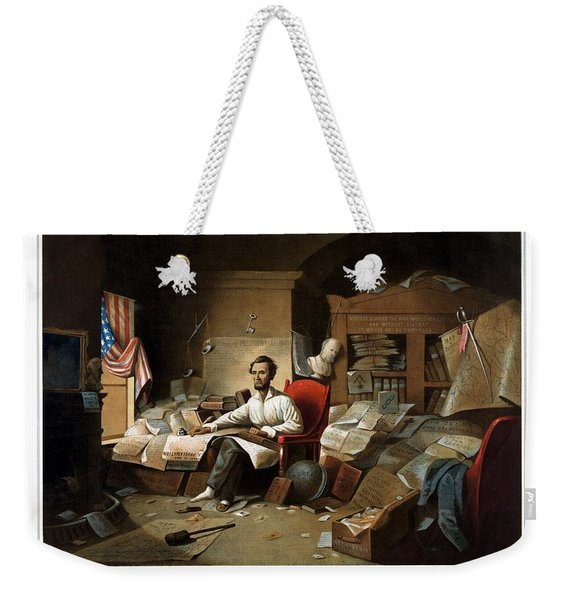 Lincoln Writing The Emancipation Proclamation Weekender Tote Bag
